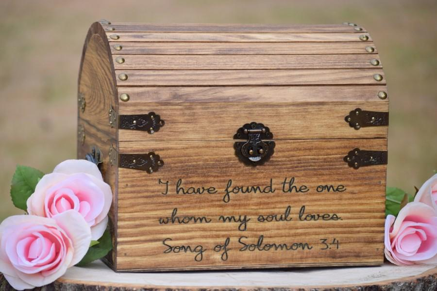 Düğün - I Have Found the One Whom My Soul Loves Song of Solomon 3:4 - Wedding Card Box - Love Box -Love Letter Chest-Rustic Wedding-Wishing Well Box