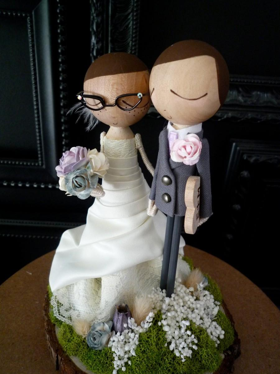 Свадьба - Custom Wedding Cake Topper with Custom Wedding Dress - MilkTea