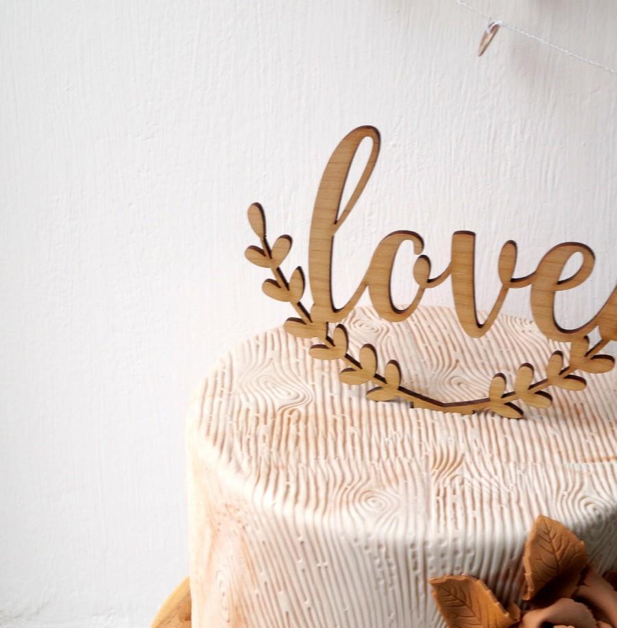 Wedding Cake Topper, Love Cake Topper, Rustic Cake Topper, Wooden ...