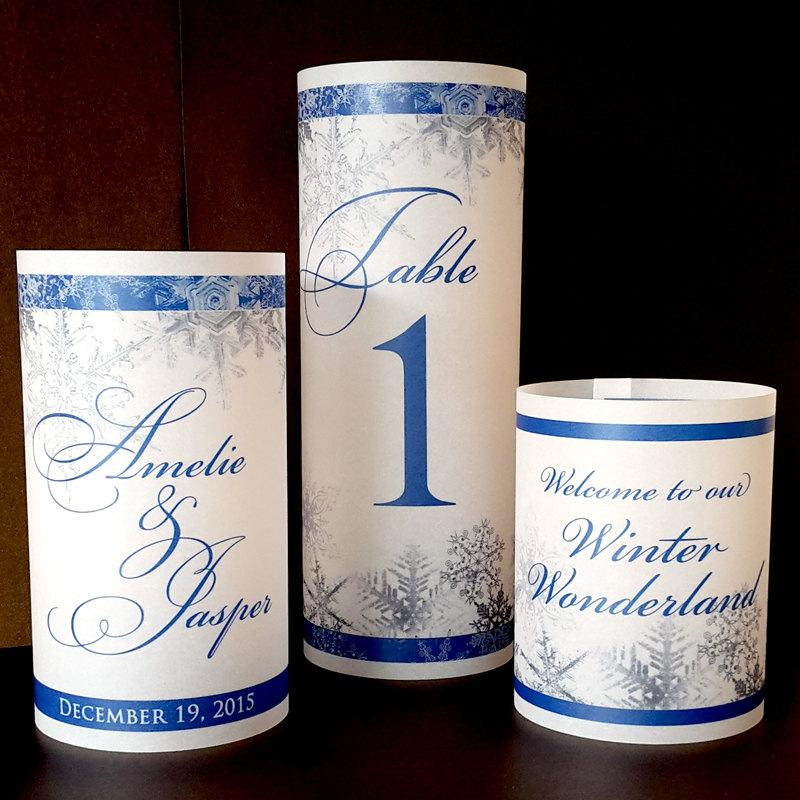 Trio Of Luminaries Snowflake Wedding Reception Winter Table
