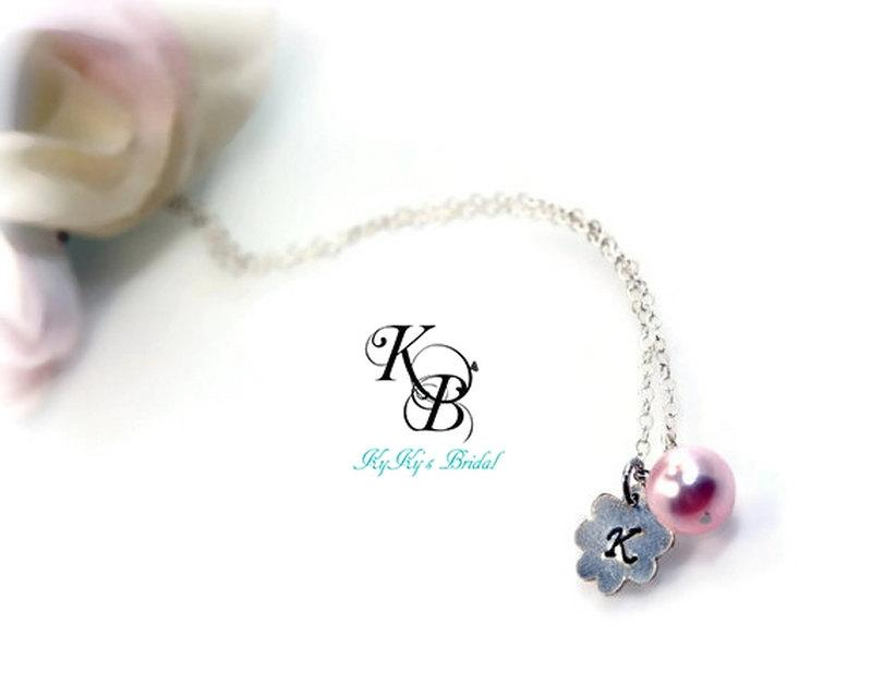 Wedding - Personalized Flower Girl Necklace, Flower Girl Jewelry, Personalized Flower Girl Gift, Personalized Necklace, Little Girl Gift