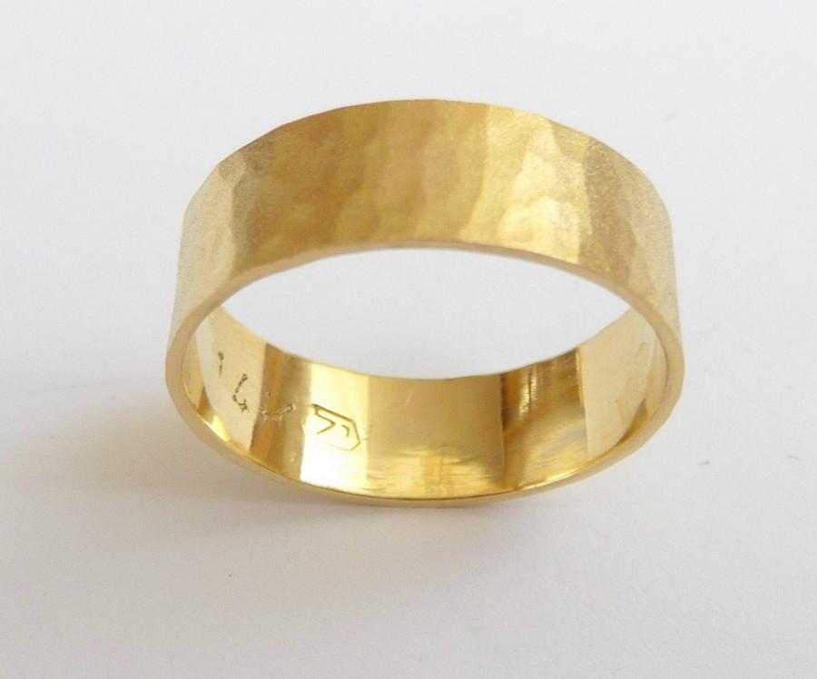 Yellow Gold Mens Wedding Band Women Wedding Ring Hammered Flat