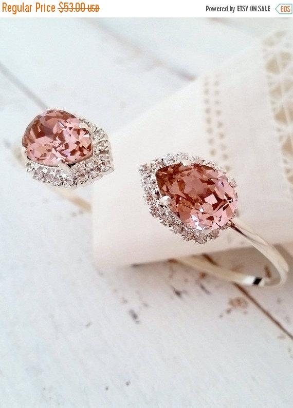 Mariage - SALE Blush bracelet,Blush pink cuff bracelet,Blush bridal bracelet,Blush bridesmaid gift,Swarovski bracelet,Blush crystal bracelet,wedding