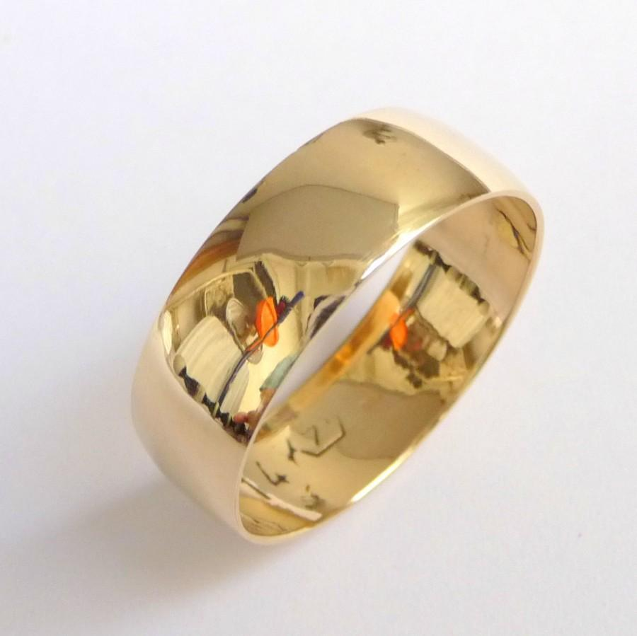 Mens Wedding Band Gold Wedding Ring For Women Traditional Classic