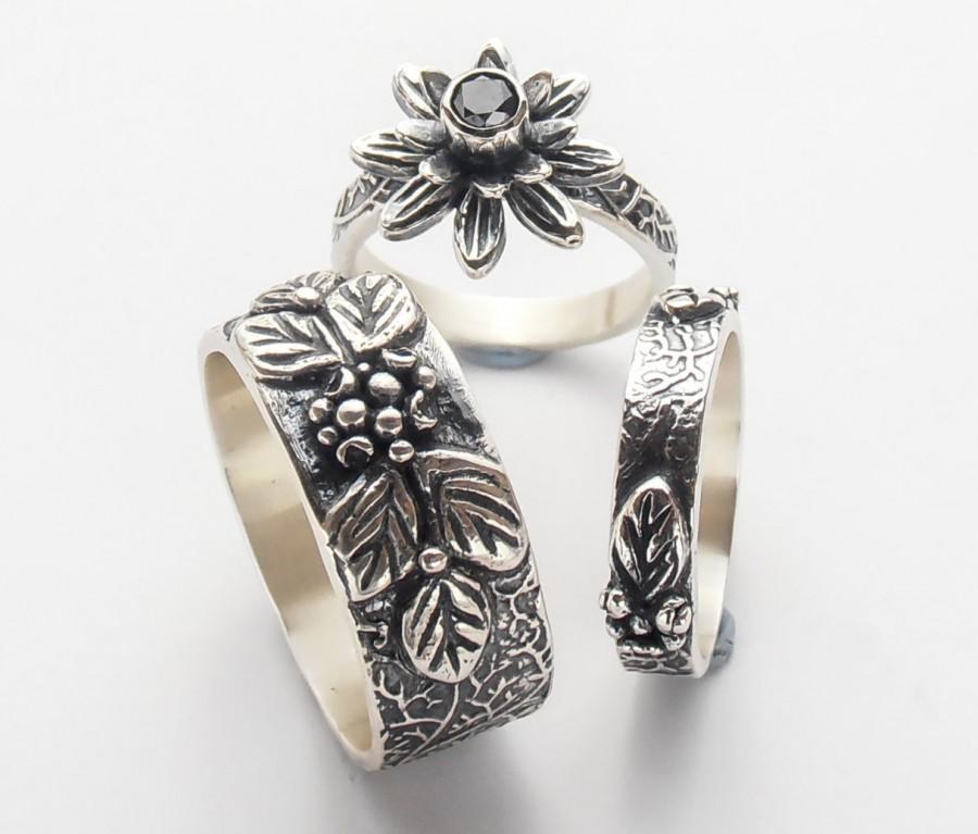 Matching Wedding Rings For Bride And Groom.Black Diamond Wedding Band Set Black Diamond Engagement Ring