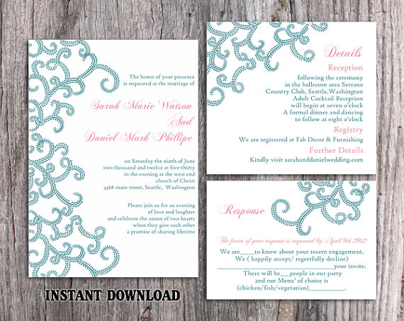 Wedding - DIY Bollywood Wedding Invitation Template Set Editable Word File Instant Download Blue Wedding Invitation Indian invitation Bollywood party