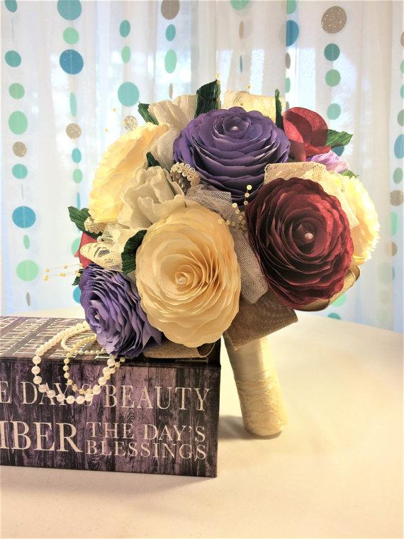Wedding - Paper pansy & peony bouquet, 20s themed bridal bouquet, lace and pearl paper flower bouquet, Alternative paper flower bouquet