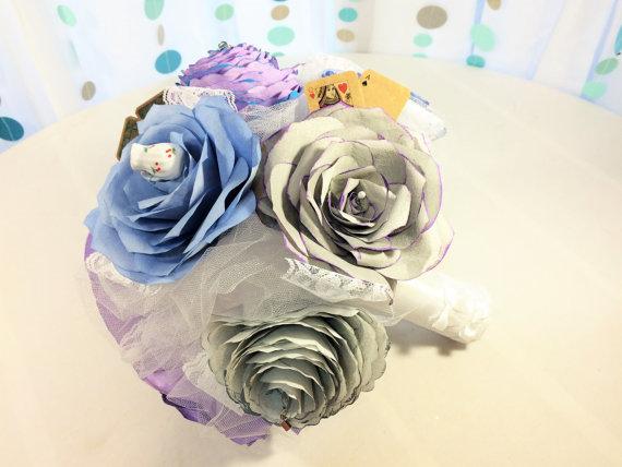 Wedding - Alice In Wonderland bouquet, Paper flower bouquet, Tea party themed bouquet, Fantasy themed bridal bouquet, Coffee filter paper bouquet
