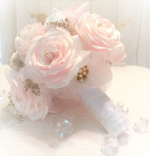 Mariage - Blush bridal bouquet - 3 sizes available - Paper bouquet - Romantic bouquet - Baby's breath bouquet - Shabby chic bouquet - Wedding bouquet