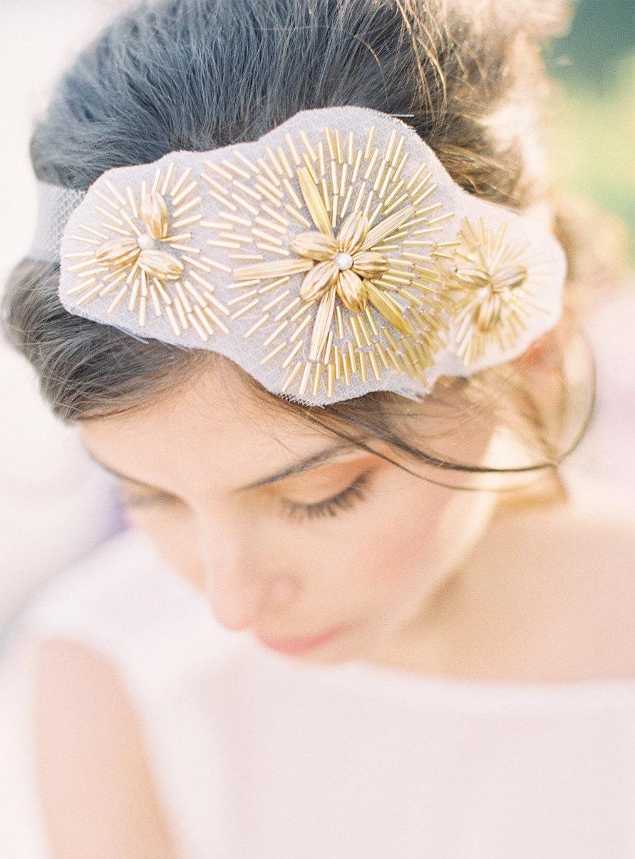 Hochzeit - Zoe hand beaded head piece in gold