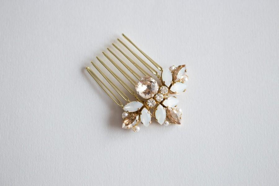 زفاف - Small Opal rhinestone on  Gold Haircomb  - Opal Crystal Bridal  Haircomb - Wedding Crystal Bun Ornament, hair adornement