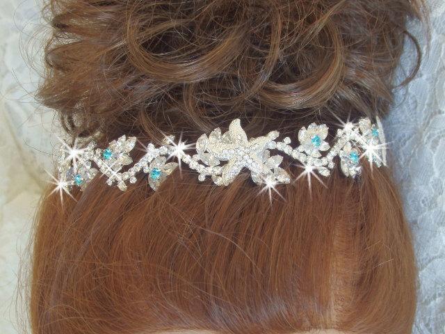 زفاف - Beach Tiara for Wedding, Starfish Tiara, Destination Wedding, Beach Wedding Tiara, Beach Wedding Head Band, Bridal  Crown, Something Blue