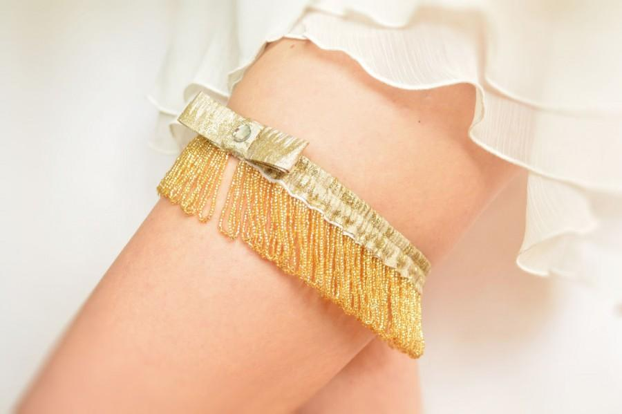 Mariage - Gatsby bridal garter golden pearls and lamé