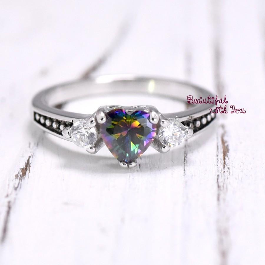 Свадьба - Heart Shape Rainbow Topaz Cubic Zirconia Promise Ring Band Fancy Vintage Style Friendship Gift for Friend Kids Girls Womens