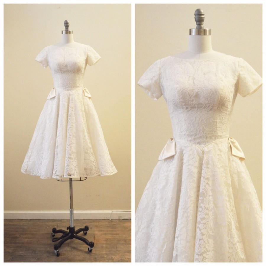 1950 S Vintage Wedding Dresses.Vintage Bridal 1950 S Ivory Chantilly Lace Tea Length