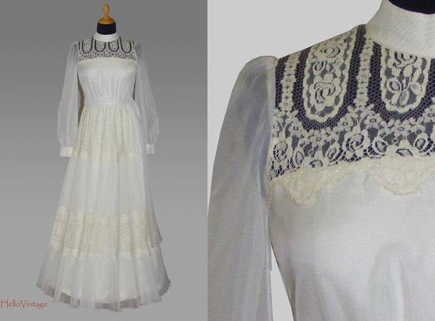Wedding - Designer 60s vintage wedding dress, 1960s bridal gown, Lace
