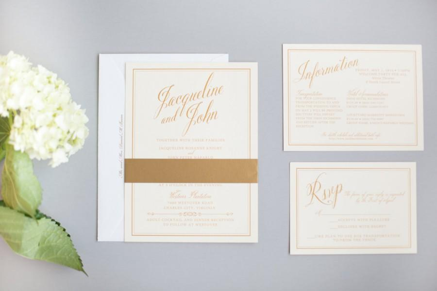 Свадьба - Classic Invitation Suite in Gold Thermography