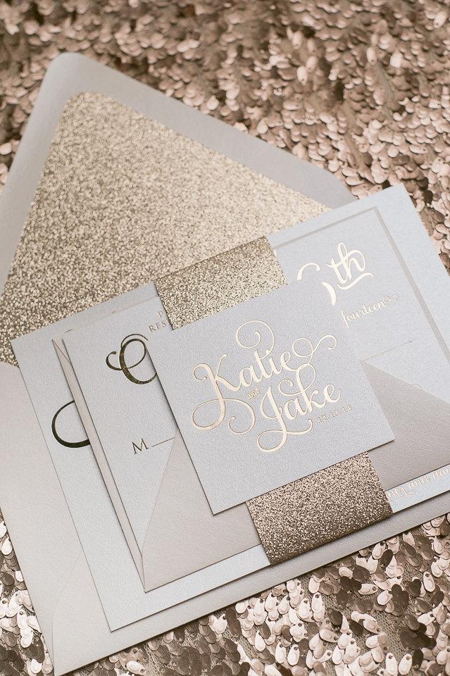 Wedding - Foil  - Rose Gold Glitter Wedding Invitation - SAMPLE (Adele)