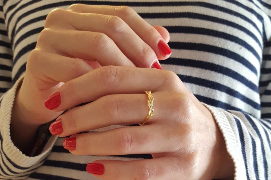 زفاف - 14k Leaf Ring, Vine ring, Wedding Band, 14K Leaves Ring, Stackable ring, Art Nouveau Ring, Antique Leaf Ring, Wedding Ring, Unisex Ring