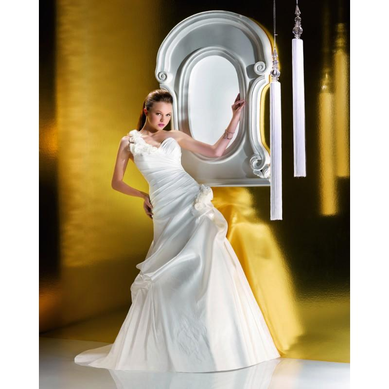 Wedding - Simple Ball Gown One Shoulder Ruching Hand Made Flowers Sweep/Brush Train Taffeta Wedding Dresses - Dressesular.com