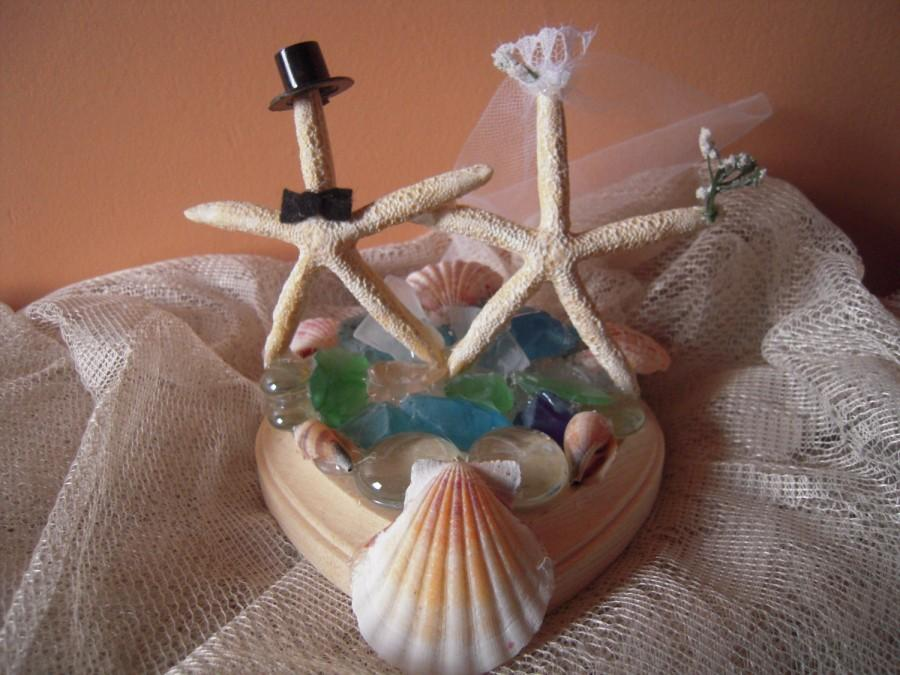 زفاف - Starfish Wedding Cake Topper with seashells and sea glass Bride and Groom Starfish for Beach Wedding Summer Wedding