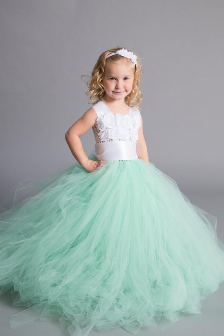 e6dcce15f8e52 Flower Girl Dress - Tulle Flower Girl Dress - Mint Dress - Tulle ...