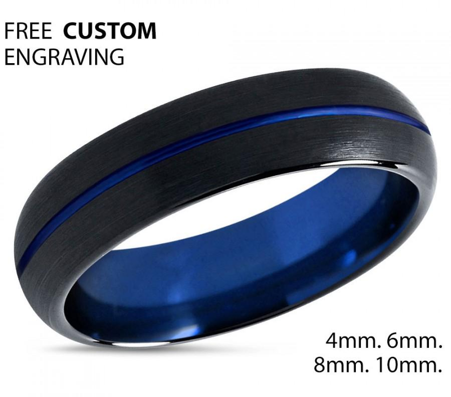 Mariage - Tungsten Ring Mens Black Blue Wedding Band Tungsten Ring Tungsten Carbide 6mm Tungsten Man Wedding Male Women Anniversary Matching