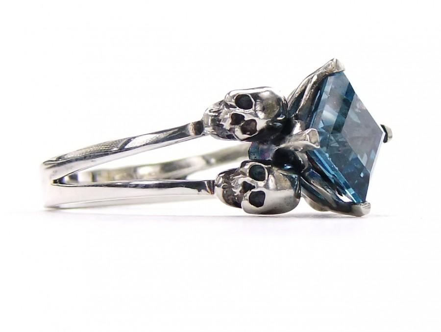 Hochzeit - Blue Skull Ring Size 7 READY TO SHIP Engagement Square Blue Topaz Memento Mori Sterling Jewel Ring Blue Goth Engagement Ring Rockabilly