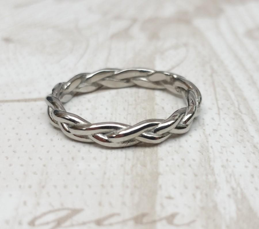 Mariage - 3mm Wide Braided Weave Ring available in titanium and white gold filled - wedding ring - wedding band - promise ring