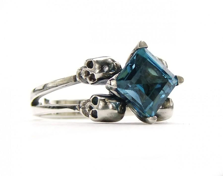 Hochzeit - Blue Skull Ring Engagement Square Blue Topaz Memento Mori Sterling Jewel Skull Ring Blue Goth Engagement Ring Rockabilly Womens All Sizes