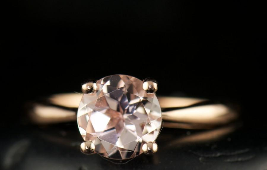 Mariage - Morganite Engagement Ring in Rose Gold, 1.45ct Round Brilliant Morganite Solitaire, Classic 4-Prong Cathedral Setting, 1.8mm Band, Talia 2
