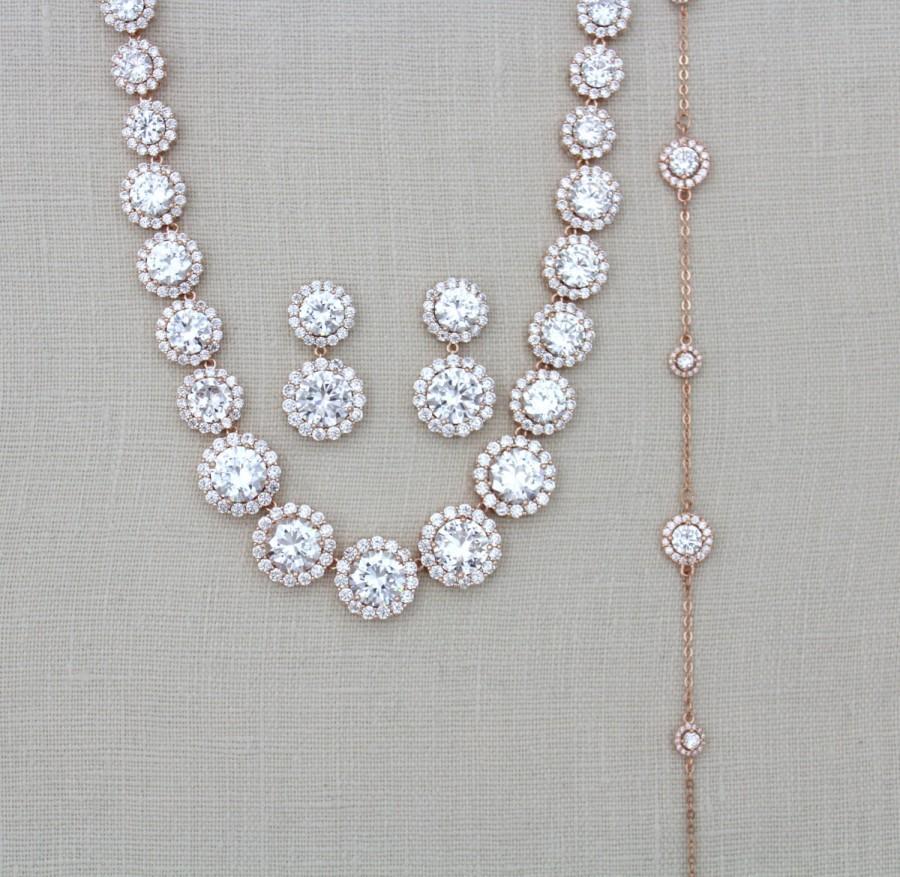 Mariage - Bridal Backdrop necklace, Rose Gold Wedding necklace, Wedding jewelry set, Back necklace, Statement necklace, Rose Gold backdrop necklace