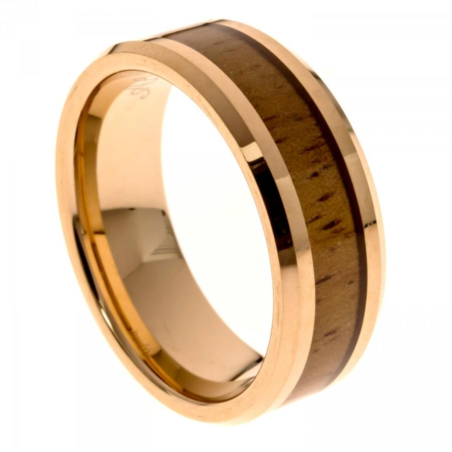 Mariage - Rose Gold Men's Wedding Band, Hawaiian Koa Wood Inlay Tungsten Carbide Ring,  8MM Comfort Fit, Sizes 7 - 13