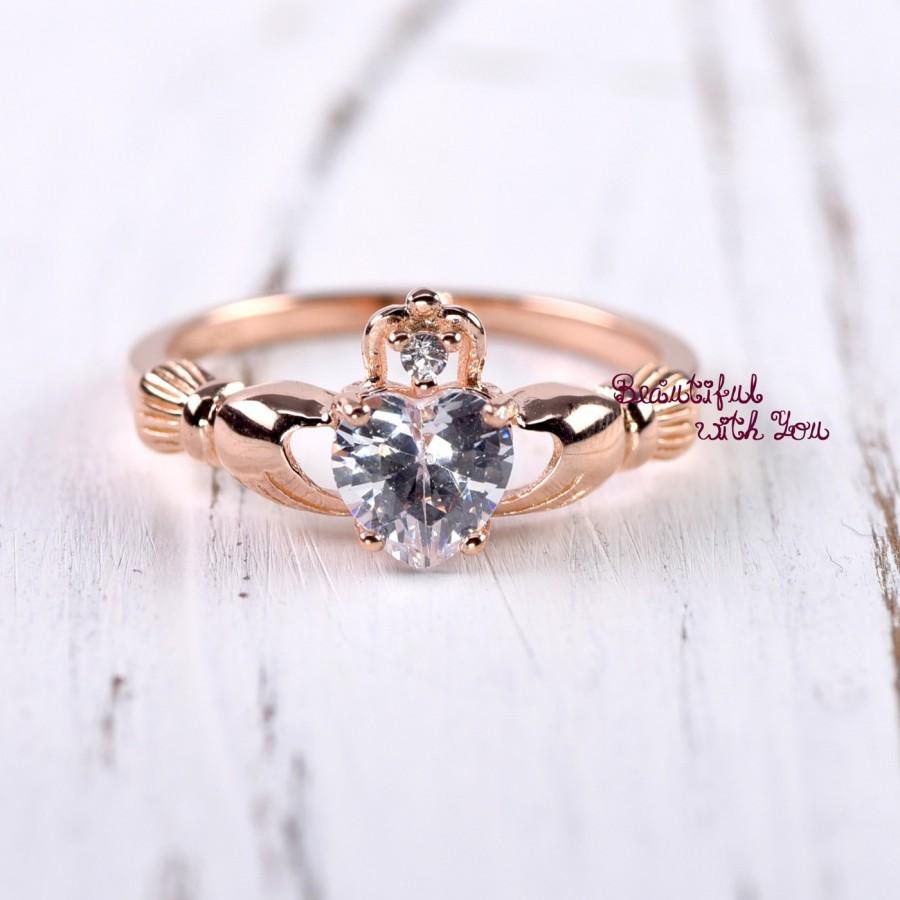 Mariage - Claddagh Ring Rose Gold, Claddagh Ring Womens, Sterling Silver Rose Gold Plated Claddagh Ring, Celtic Irish  Clddagh Promise Ring