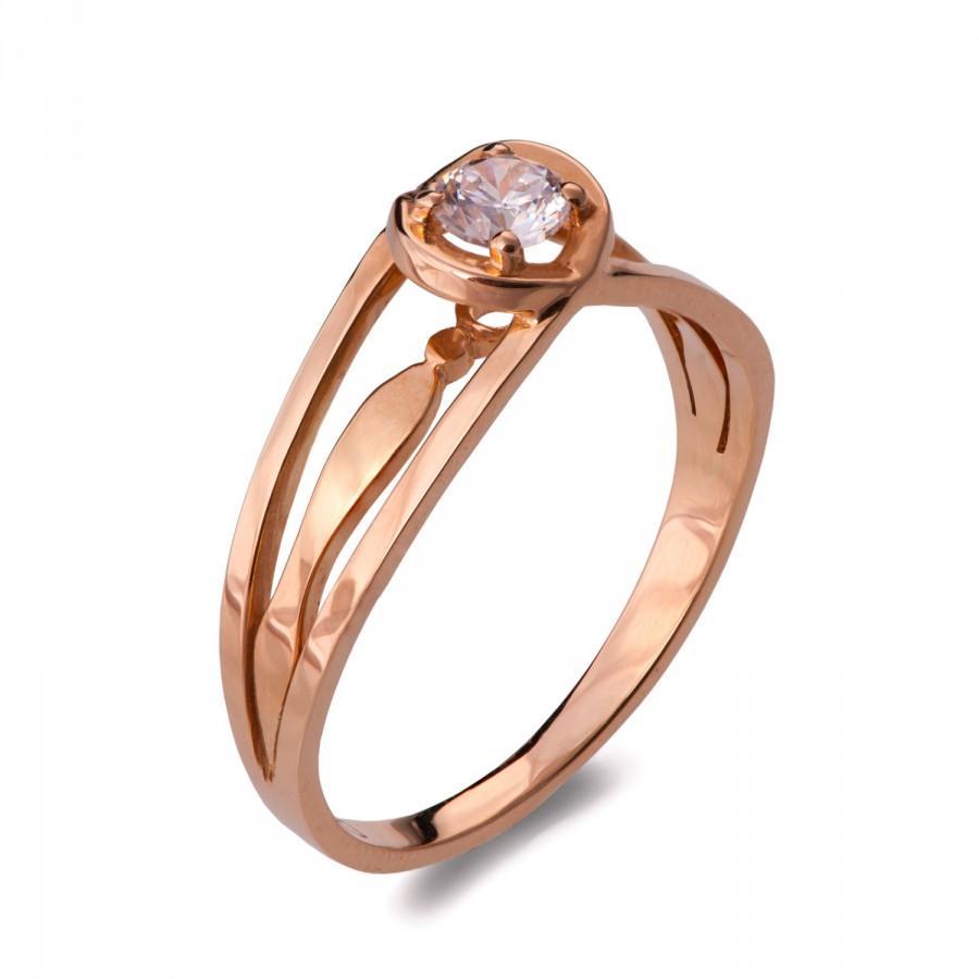 Mariage - Unique Engagement Ring, Diamond Ring, 14K Rose Gold and Diamond engagement ring, celtic ring, engagement ring, Unique Engagement Rings, ENG3