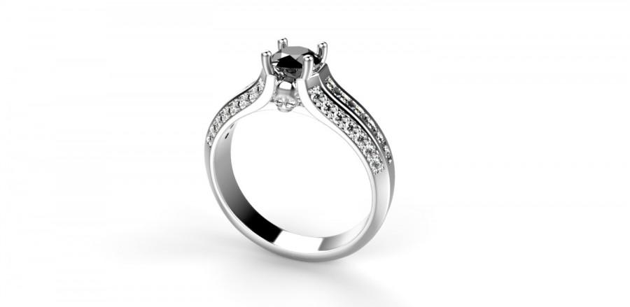 Mariage - Skull Engagement Ring 14k White Gold Skull Ring 14k Goth Engagement Ring Goth Ring Black Diamond Ring Diamond Alternative