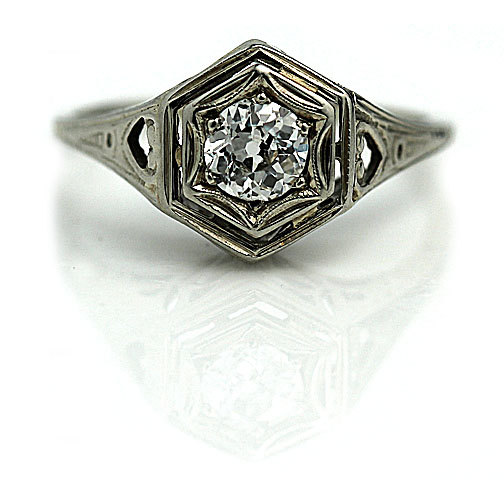 Свадьба - Art Nouveau Engagement Ring Petite .35ctw Antique Engagement Ring Dainty 20K White Gold Vintage Solitaire Ring Vintage Promise Ring!