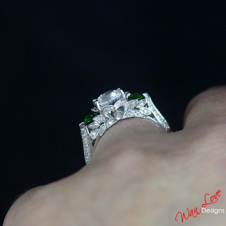Mariage - Ready to ship-Moissanite White Sapphire Diamond Green Chrome Diopside Milgrain Engagement Ring 3 stone 1ct 6mm 14k White Gold 6.5