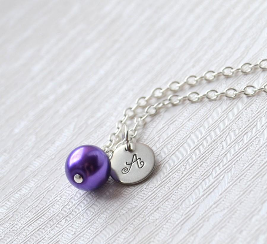 Mariage - Bridesmaid gift custom color necklace with Initials Bridesmaid Necklace Personalized bridesmaid jewelry Flower girl jewelry Choose color