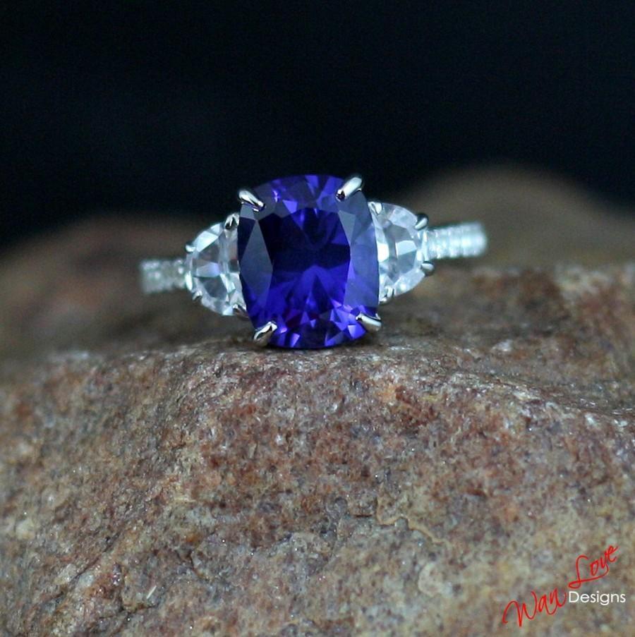 Blue & White Sapphire Engagement Ring Elongated Cushion Half Moon 35ct  10x8mm 14k 18k White Yellow Rose Goldplatinumweddingcustom