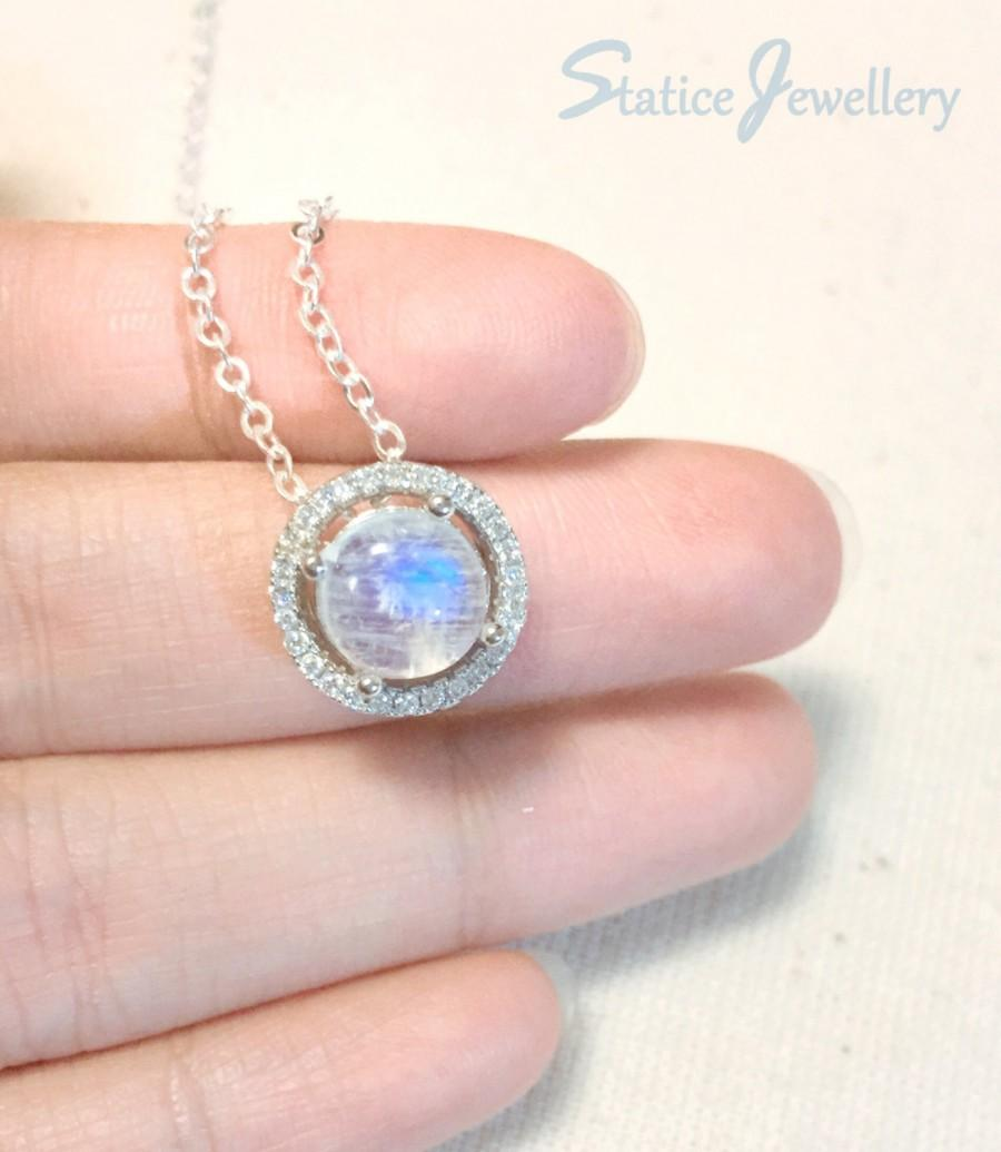Floating Moonstone Necklace Sterling Silver, Genuine Natural Top ...