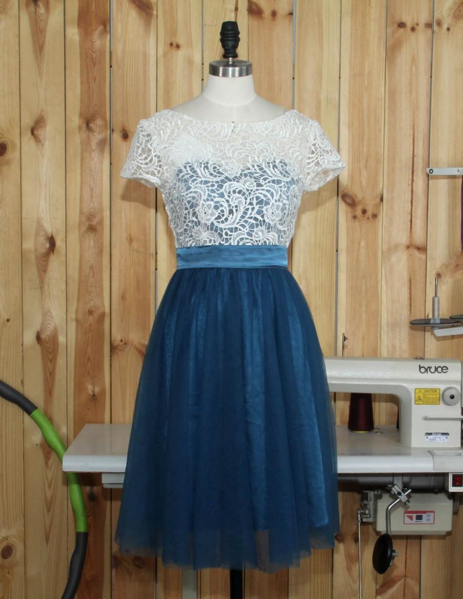Hochzeit - 2016 Dark Turquoise Bridesmaid dress, Lace Wedding dress, Formal dress, Tulle Prom Dress, Evening dress short length