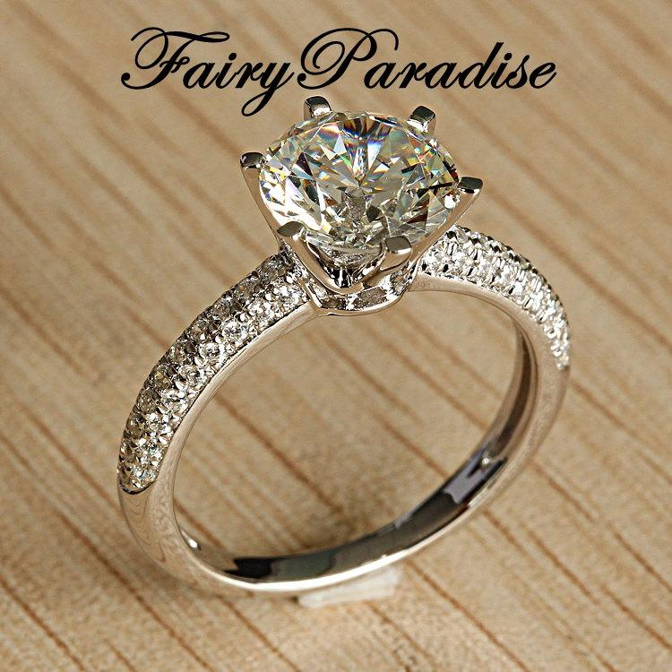 Mariage - Classic 2 Ct (8 mm) Round Cut Man Made Diamond Pave Band Solitaire Engagement Wedding Promise Cocktail Ring -made to order ( FairyParadise )