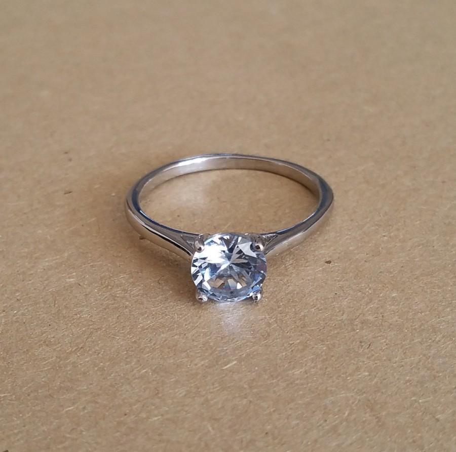 Mariage - Genuine 1.5ct Aquamarine solitaire ring in Titanium or White Gold - engagement ring - wedding ring - handmade ring