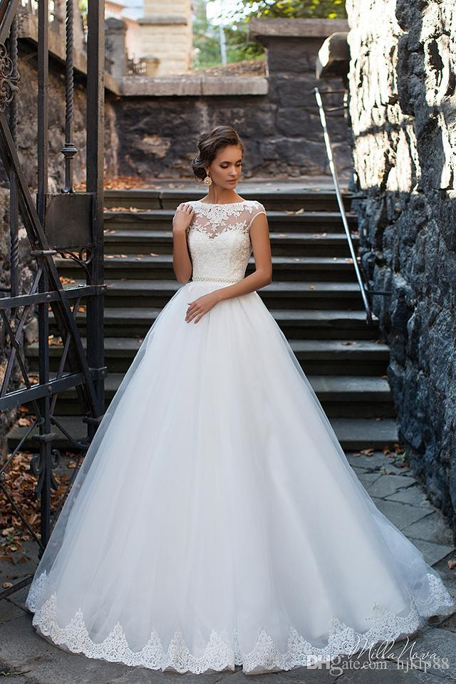 1d303fabe98d 2016 New Milla Nova CHERIZ Illusion Wedding Dresses Vintage Appliqued Jewel  Backless Bridal Gowns Tulle Sweep Train A-Line Wedding Dresses Lace Luxury  ...