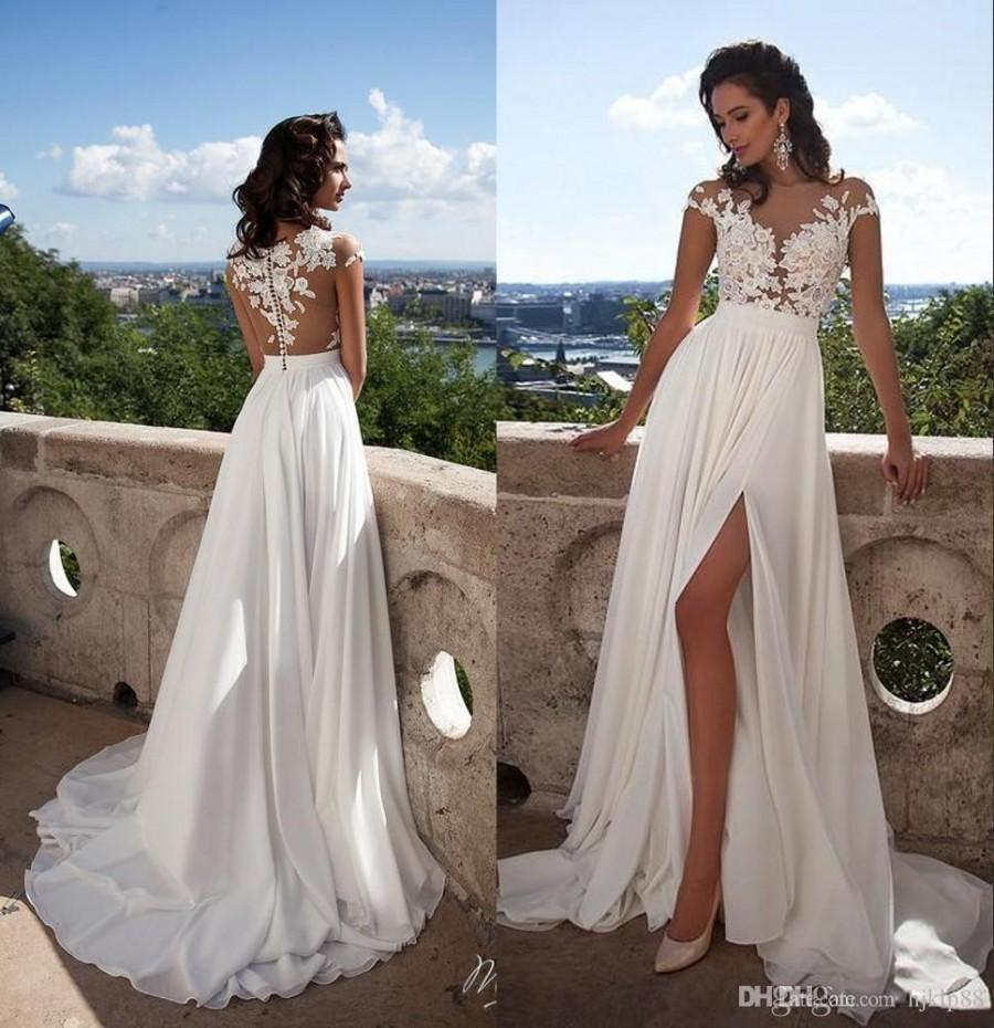 Wedding - Summer Beach Milla Nova SELENA Sexy Sheer Lace Appliqued A Line Wedding Dresses Capped Sleeves High Split Side Chiffon Cheap Bridal Gowns Lace Luxury Illusion Online with 148.58/Piece on Hjklp88's Store