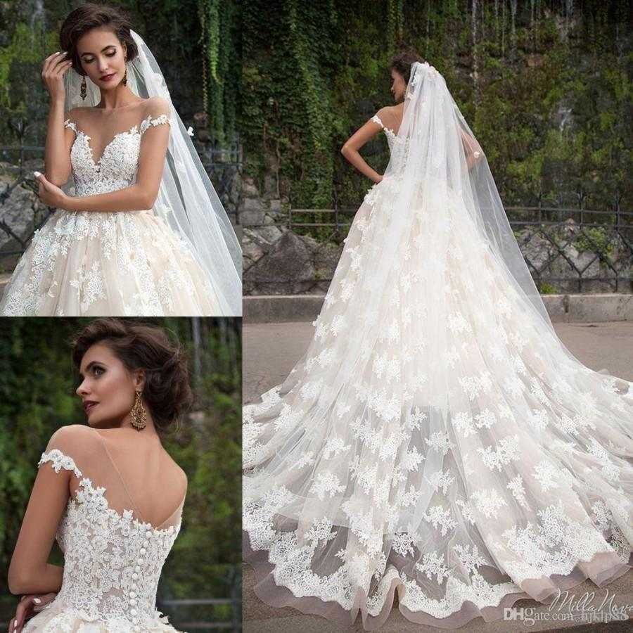 Wedding - Milla Nova BARBARA Vintage Wedding Dresses Lace Applique Bridal Dress Sheer Neck Sweep Train Plus Size A Line Wedding Gowns Lace Luxury Illusion Online with 194.29/Piece on Hjklp88's Store