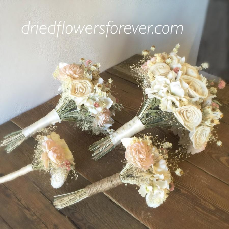 Wedding - Dried & Preserved Flower Wedding Bouquet - Blush, Pink, Creamy White, Ivory, Sola -  Amore Collection