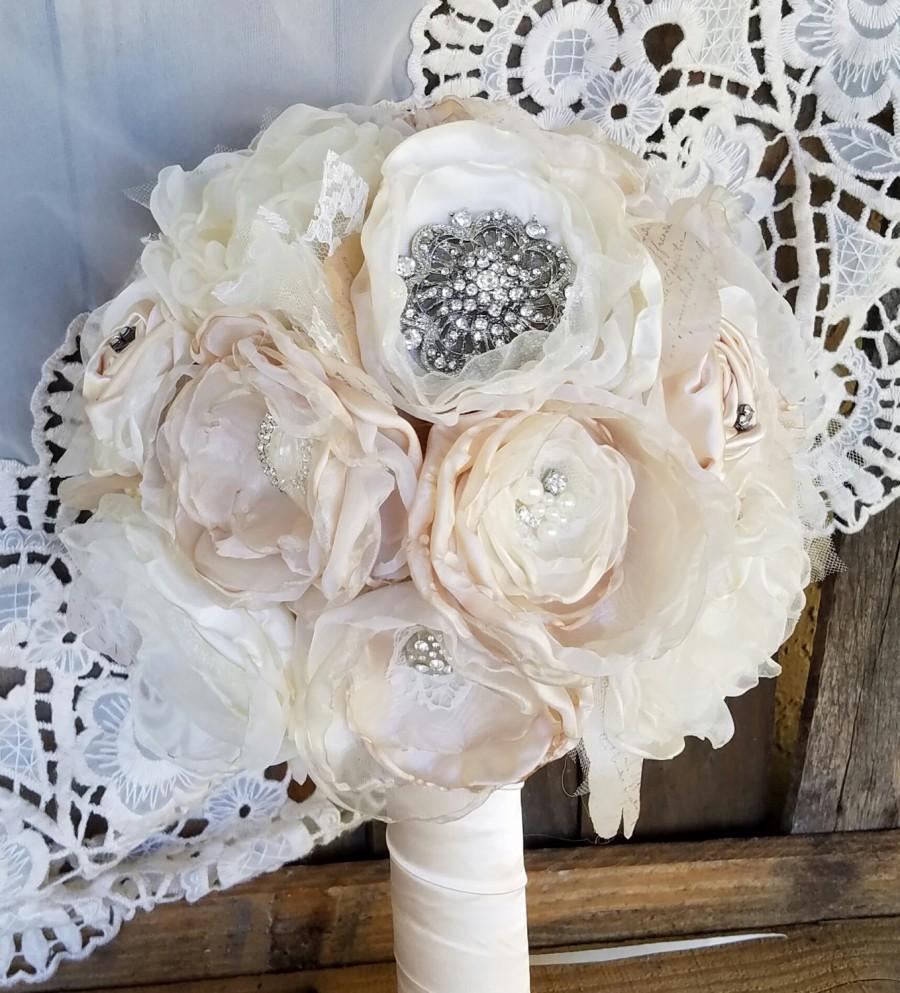 Wedding - Wedding  Bouquet , Brooch  Bouquet, Fabric Bouquet, Vintage bouquet, Blush bouquet, Shabby Chic Bouquet. wedding flowers, fabric flowers