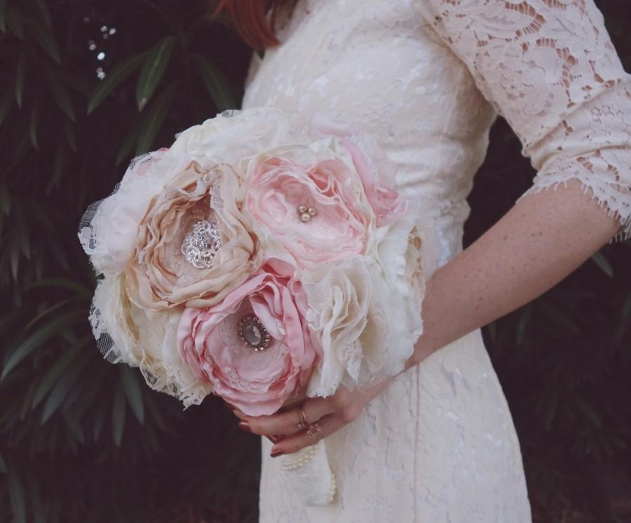 Hochzeit - Blush fabric bouquet, brooch bouquet, bride bouquet, fabric wedding bouquet